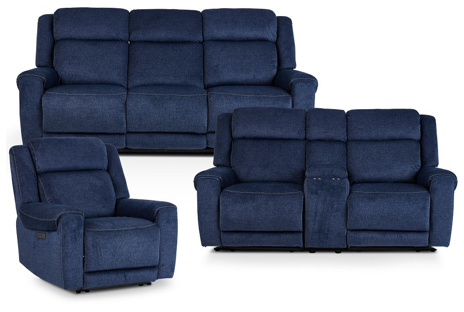 Beckett Dark Blue Micro Power Reclining Living Room