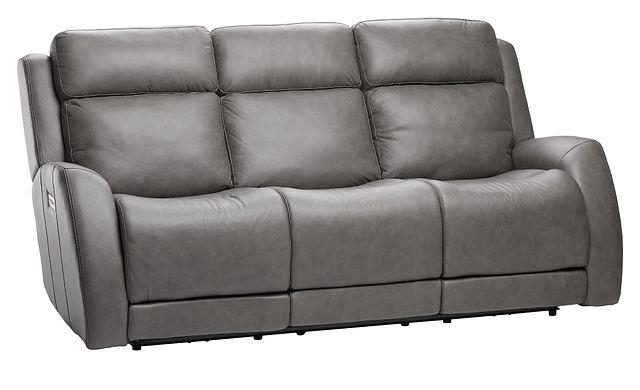 Rawlings Dark Gray Leather Power Reclining Sofa (1)