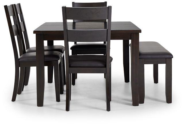 Navarro Dark Tone Rect Table, 4 Chairs & Bench (2)