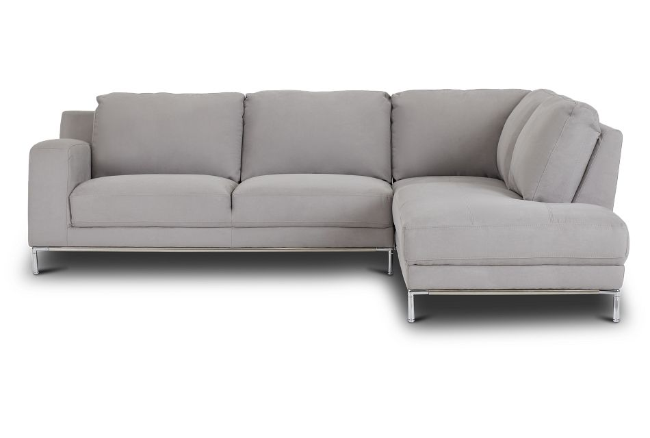 Wynn Light Gray Micro Right Chaise Sectional,  (3)