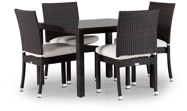 """Zen White 40"""" Square Table & 4 Chairs (0)"""