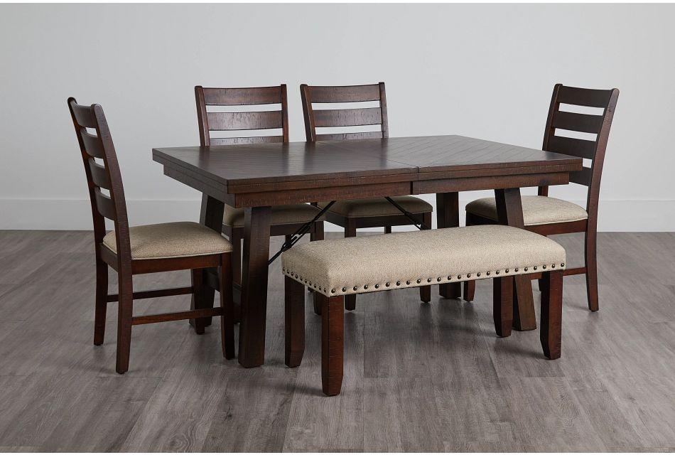 Jax Dark Tone Rect Table, 4 Chairs & Bench,  (0)