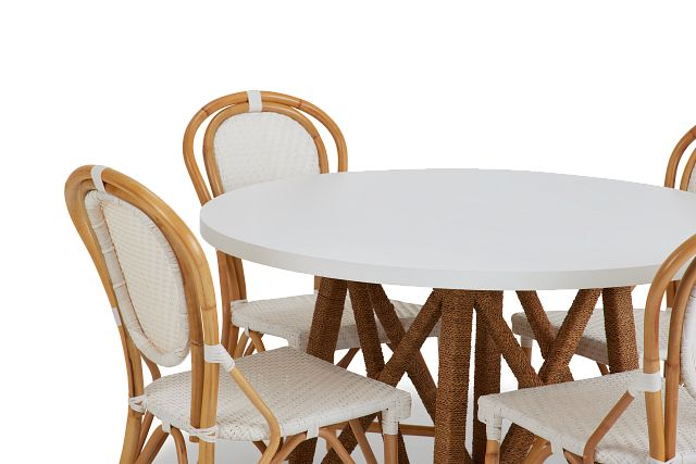 Greenwich Two-tone Round Table & 4 Rattan Chairs