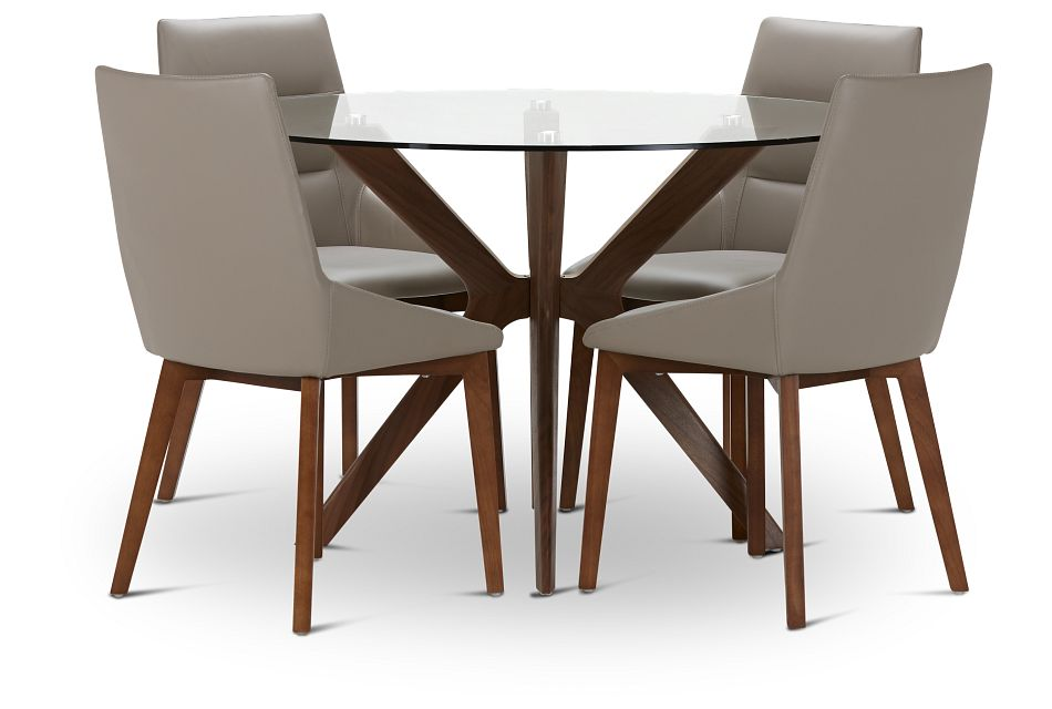 Fresno Glass Taupe Round Table & 4 Upholstered Chairs