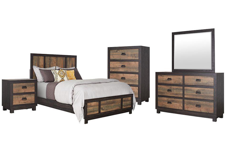 Harlington Dark Tone Panel Bedroom Package