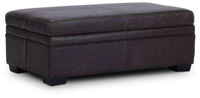 Carson Dark Brown Leather Storage Ottoman (1)