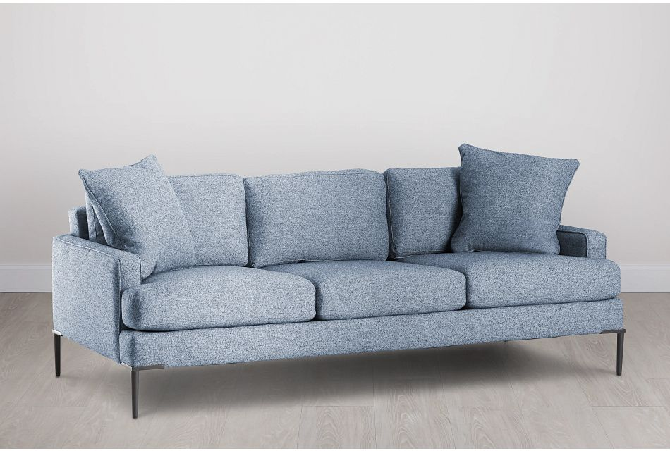 Morgan Blue Fabric Sofa With Metal Legs
