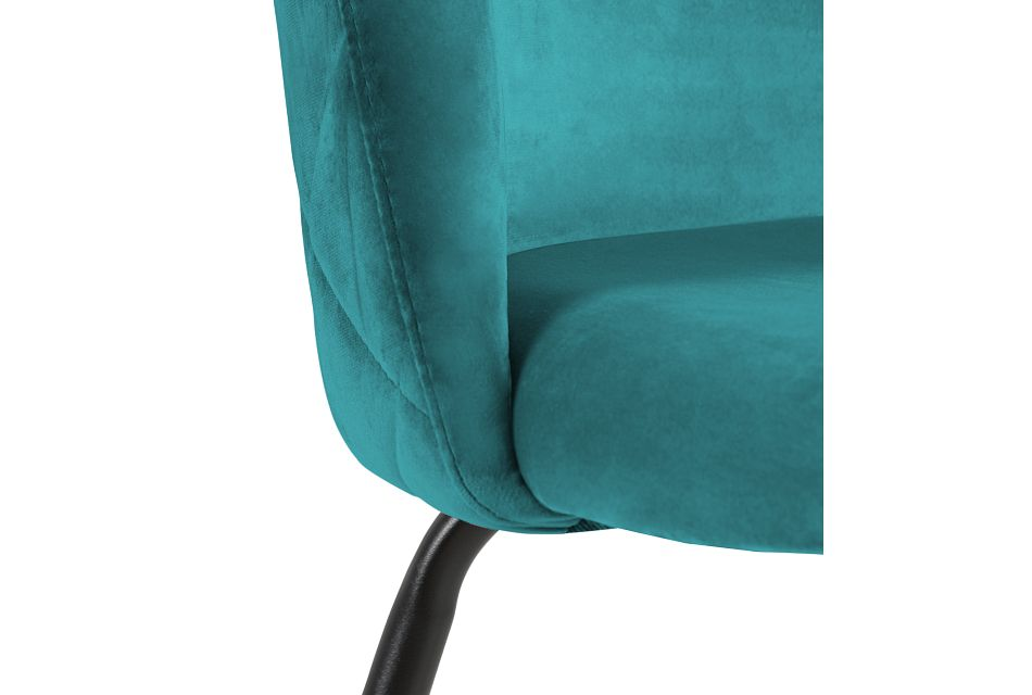 """Capri Dark Teal Upholstered 24"""" Barstools W/black Legs"""