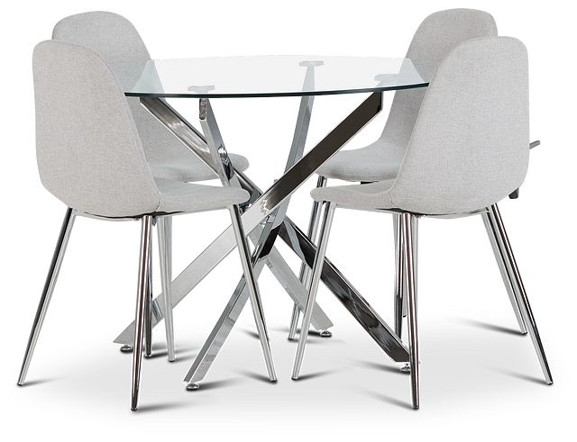 Havana Chrome Lt Gray Round Table & 4 Upholstered Chairs (1)