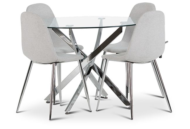 Havana Chrome Lt Gray Round Table & 4 Upholstered Chairs