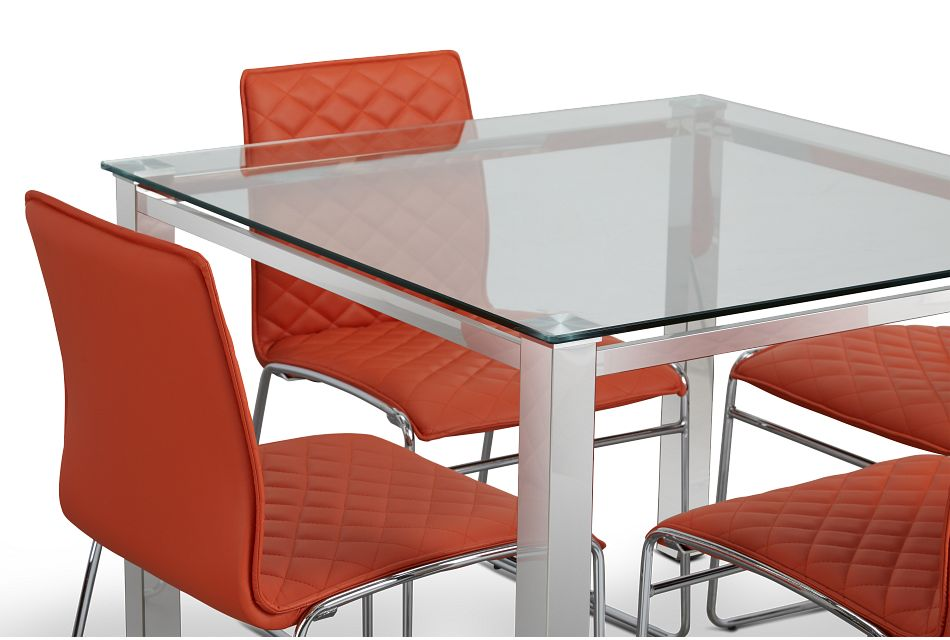 Skyline Orange Square Table & 4 Metal Chairs