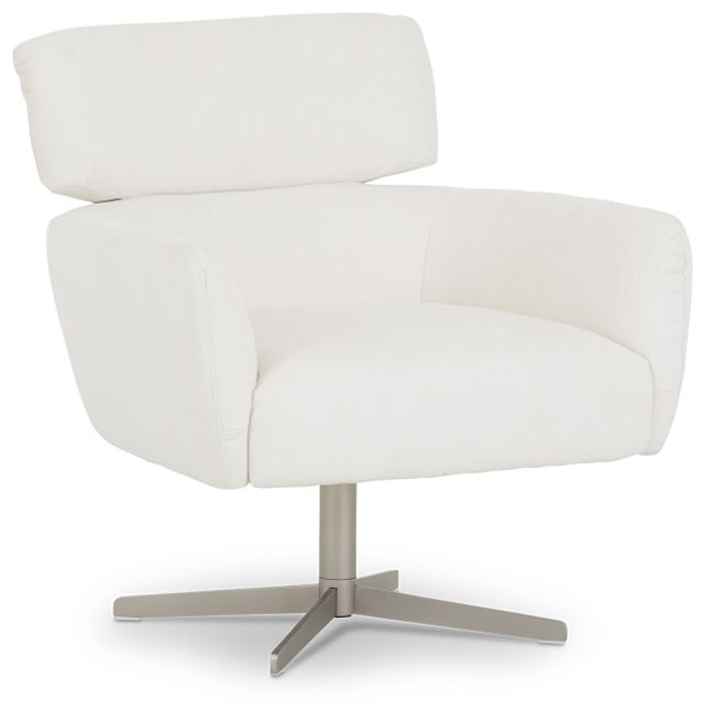 Wynn White Micro Swivel Accent Chair (2)