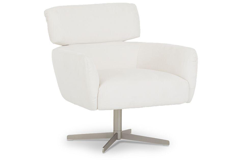Wynn White Micro Swivel Accent Chair,  (1)