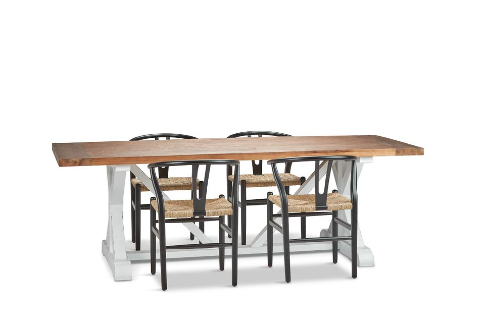 "Hilton Black 96"" Table & 4 Wood Chairs"