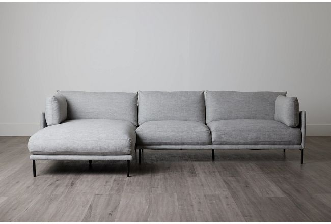 Oliver Light Gray Fabric Left Chaise Sectional