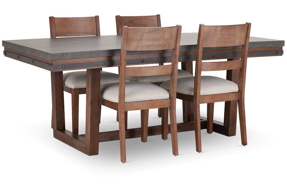 Forge Dark Tone Rectangular Table & 4 Wood Chairs,  (2)