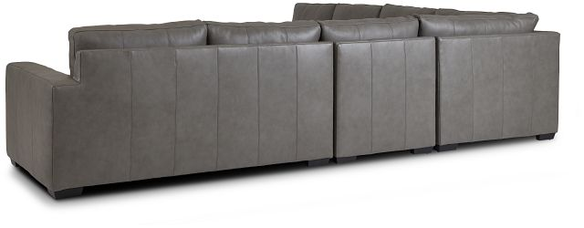 Dawkins Gray Leather Large Two-arm Sectional (3)