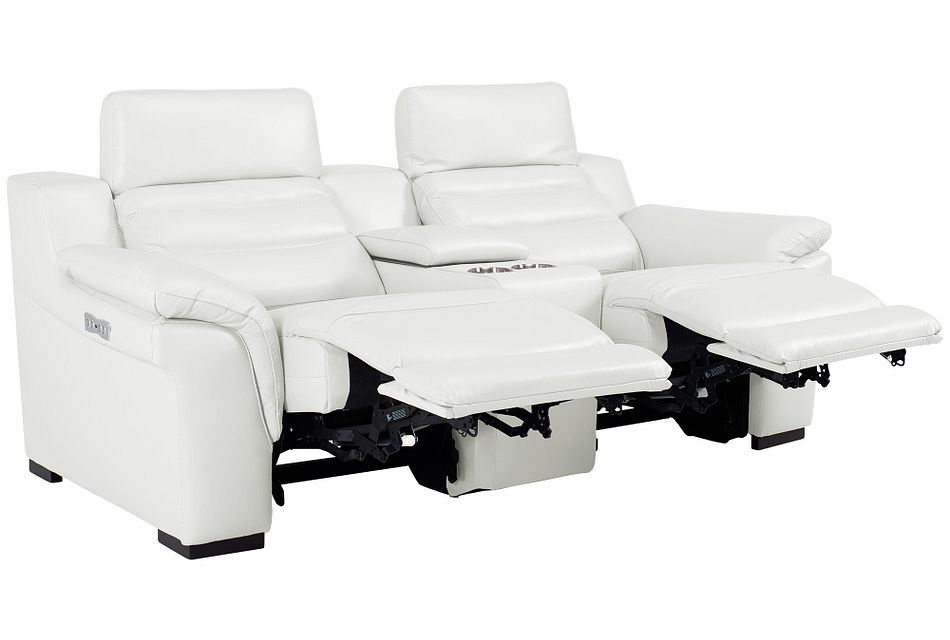 Sentinel White Lthr/vinyl Power Reclining Console Loveseat