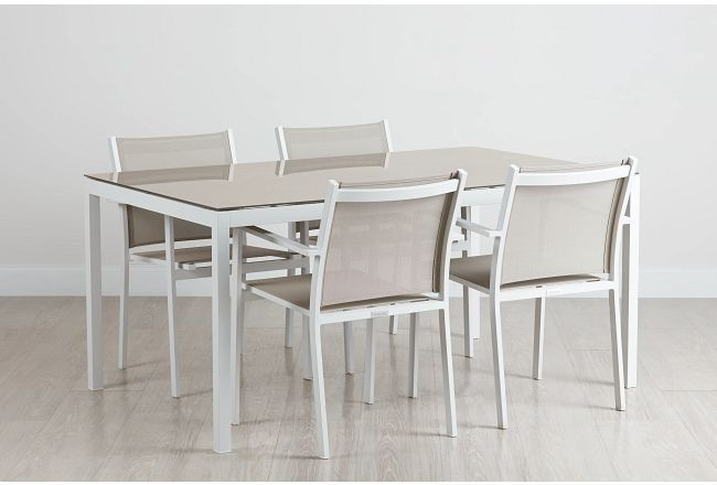 """Aventura Champagne 63"""" Table & 4 Arm Chairs"""