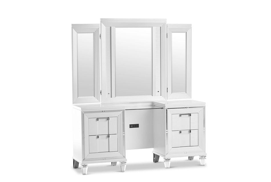 Vegas White Vanity & Mirror