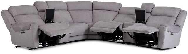 Beckett Gray Micro Large Triple Power Reclining Two-arm Sectional (3)