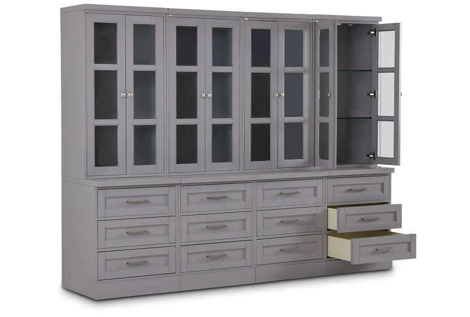 Newport Gray Drawer Bookcase Wall