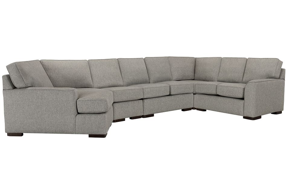 Austin Gray Fabric Large Left Cuddler Sectional