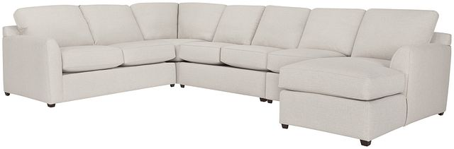 Asheville Light Taupe Fabric Right Chaise Memory Foam Sleeper Sectional (2)