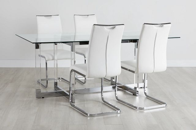 Denmark Glass Rect Table & 4 Upholstered Chairs (0)