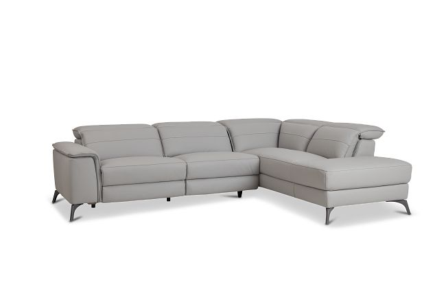 Pearson Gray Leather Right Bumper Sectional