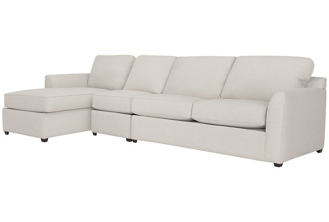 Asheville Light Taupe Fabric Small Left Chaise Sectional