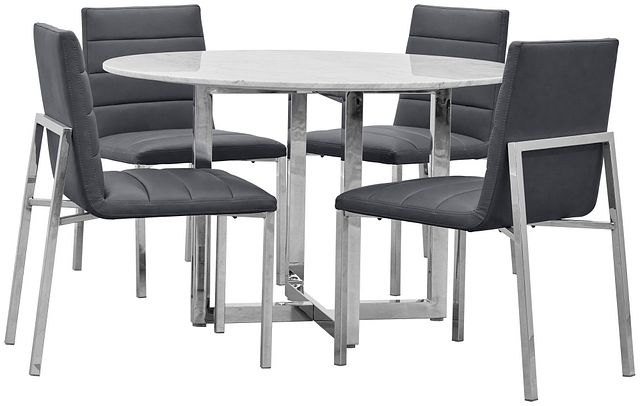 Amalfi Gray Marble Round Table & 4 Upholstered Chairs (0)