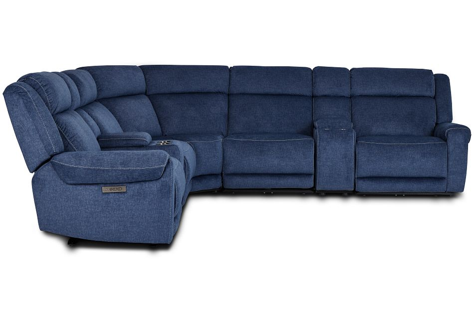 Beckett Dark Blue Micro Large Triple Power Reclining Two-Arm Sectional,  (2)