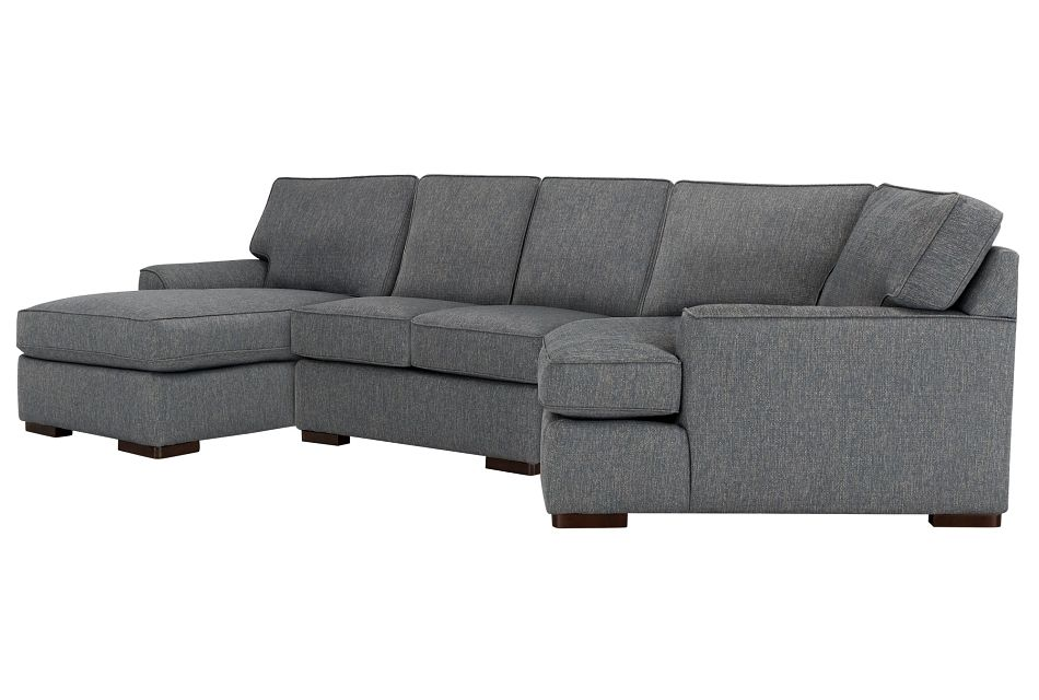 Austin Blue Fabric Left Facing Chaise Cuddler Sectional