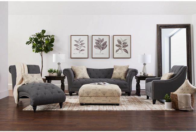 Hutton Dark Gray Fabric Chaise