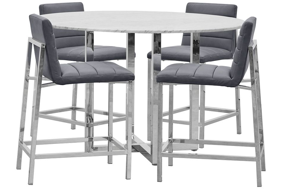 Amalfi Gray Marble High Table & 4 Upholstered Barstools