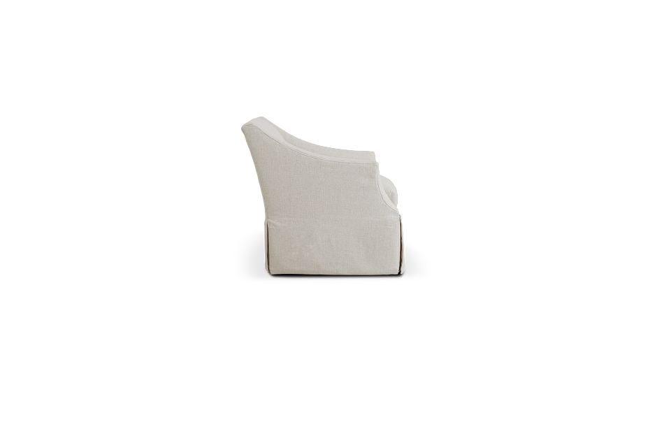 Clayton White Fabric Swivel Accent Chair,  (2)