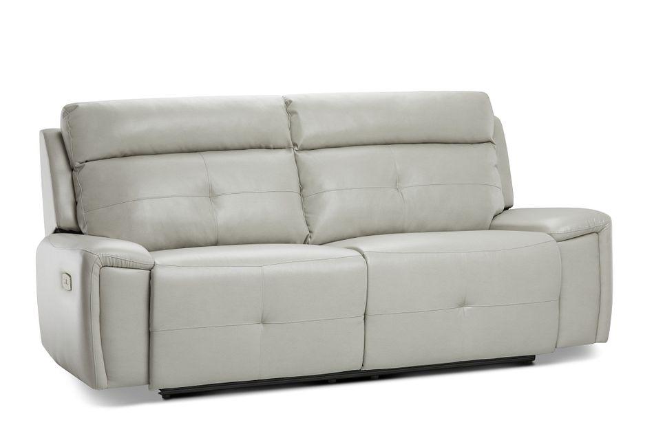 Chandler Light Gray Micro Power Reclining Sofa | Living Room - Reclining Sofas | City Furniture
