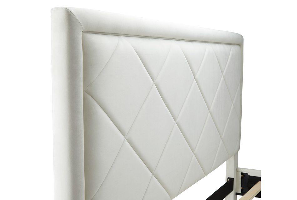 Collin Beige Velvet Platform Bed