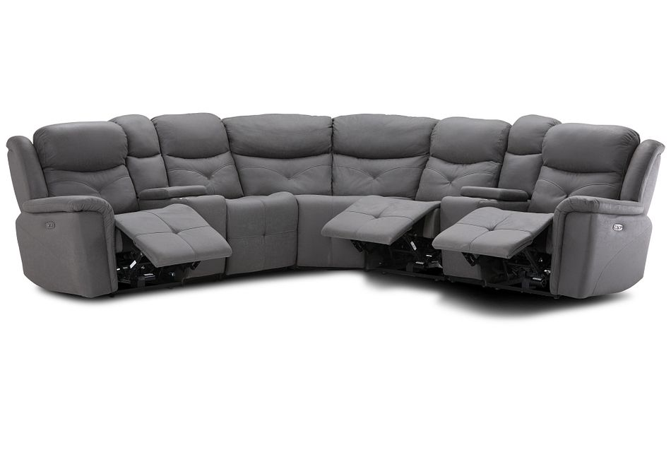 Calvin Light Gray Micro Large Triple Power Reclining Two-arm Sectional