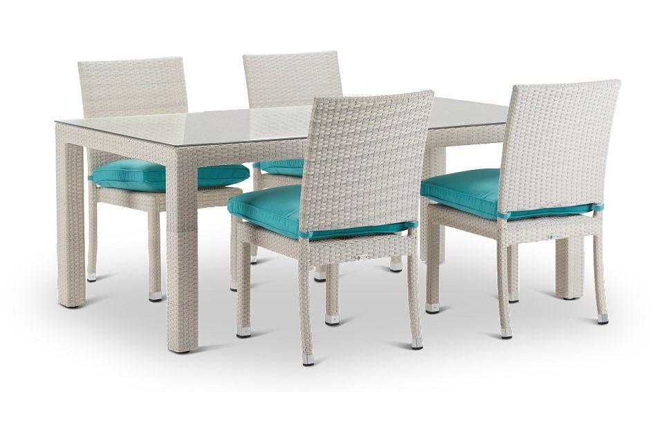 "Bahia Dark Teal 72"" Rectangular Table & 4 Upholstered Chairs,  (0)"