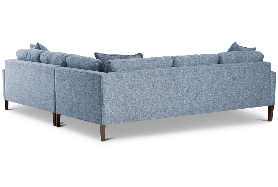 Morgan Blue Fabric Small Right 2-arm Sectional W/ Wood Legs
