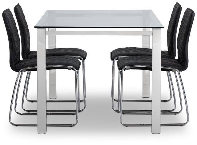 Skyline Black Rect Table & 4 Metal Chairs (2)