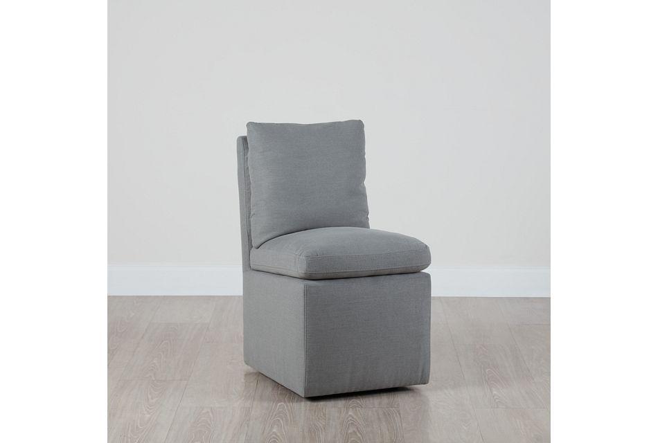 Auden Light Gray Castored Upholstered Side Chair