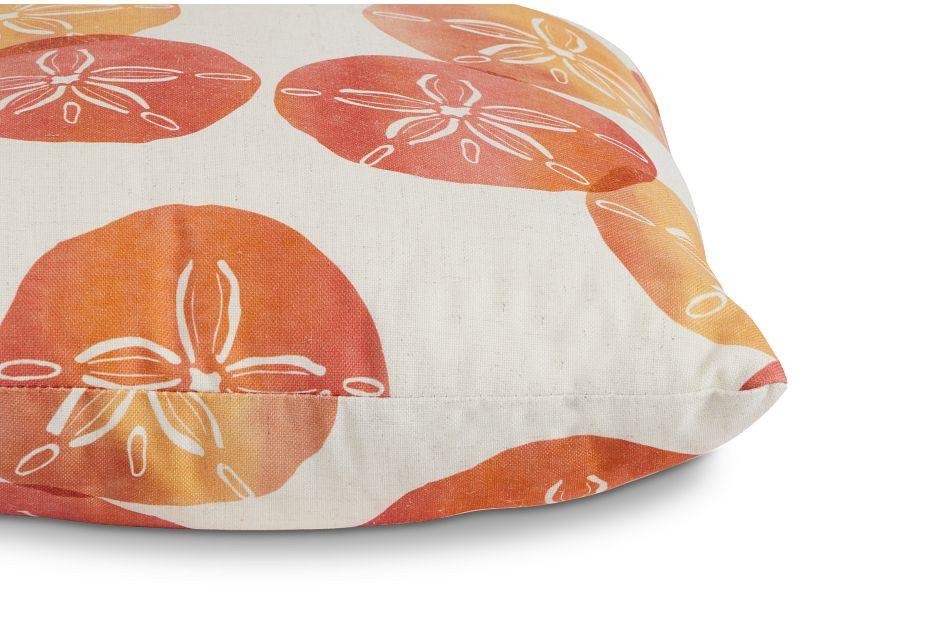 "Sand Dollar Orange Fabric 20"" Accent Pillow,  (2)"