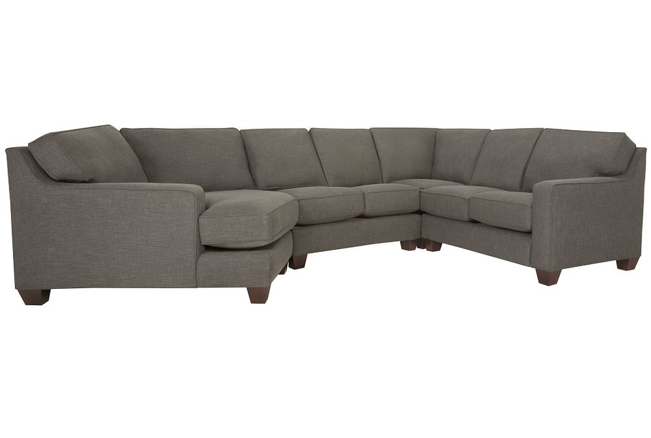 York Dark Gray Fabric Small Left Cuddler Sectional