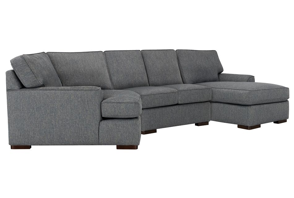 Austin Blue Fabric Right Facing Chaise Cuddler Sectional