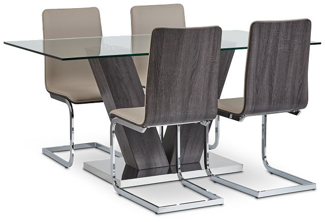 Kendall Dark Tone Rect Table & 4 Upholstered Chairs (1)