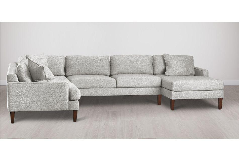 Morgan Light Gray Fabric Medium Right Chaise Sectional W/ Wood Legs