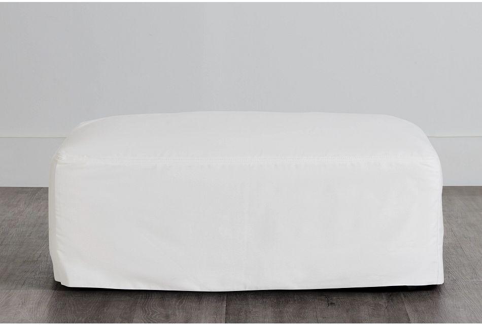 Delilah White Fabric Ottoman,  (0)
